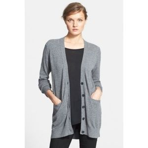 Vince Cashmere Cardigan In Heather Charcoal